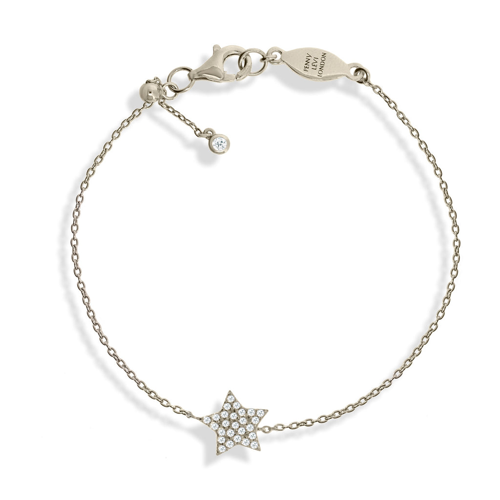 BT-52/S - Chain bracelet with pave star charm. Adjustable size slider.(NEW)