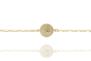 BX-1/G - Wide Chain Bracelet with Coin.