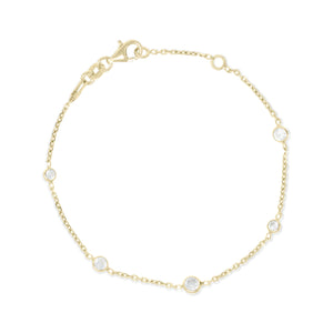 BX-31/CH/G - Gold Chain and Cubic Zirconia Bracelet