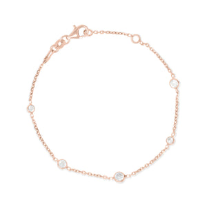 BX-31/CH/R - Rose Gold Chain and Cubic Zirconia Bracelet