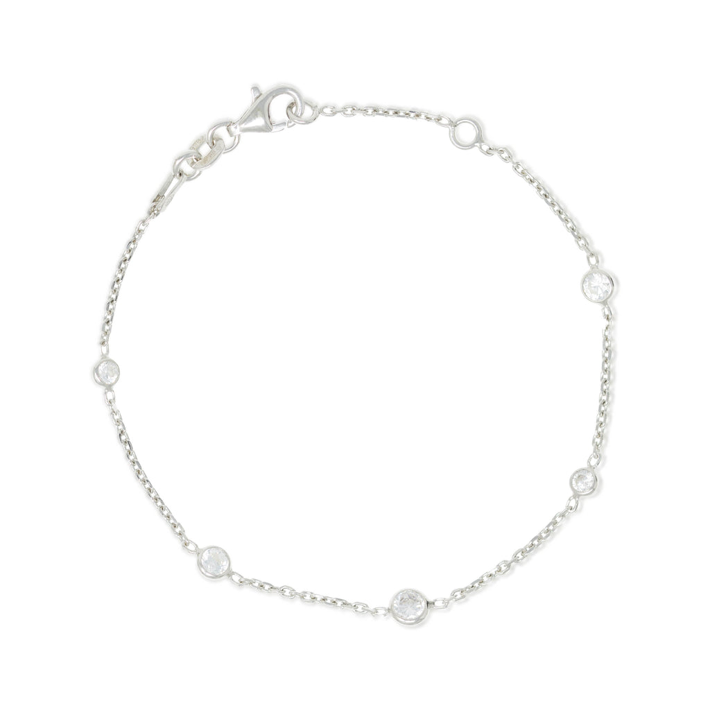 BX-31/CH/S - Sterling silver chain and cubic zirconia bracelet