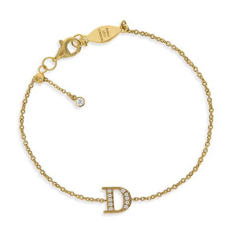 "BT-26/G/D - Initial ""D"" Bracelet adjustable length.(NEW)"