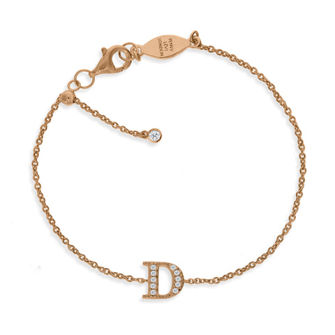 "BT-26/R/D - Initial ""D"" Bracelet adjustable length.(NEW)"