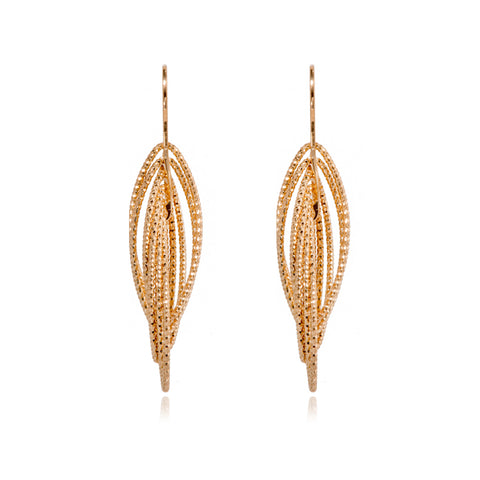 EX-033/G -  Multi ellipse intertwined 3D drop hook earrings