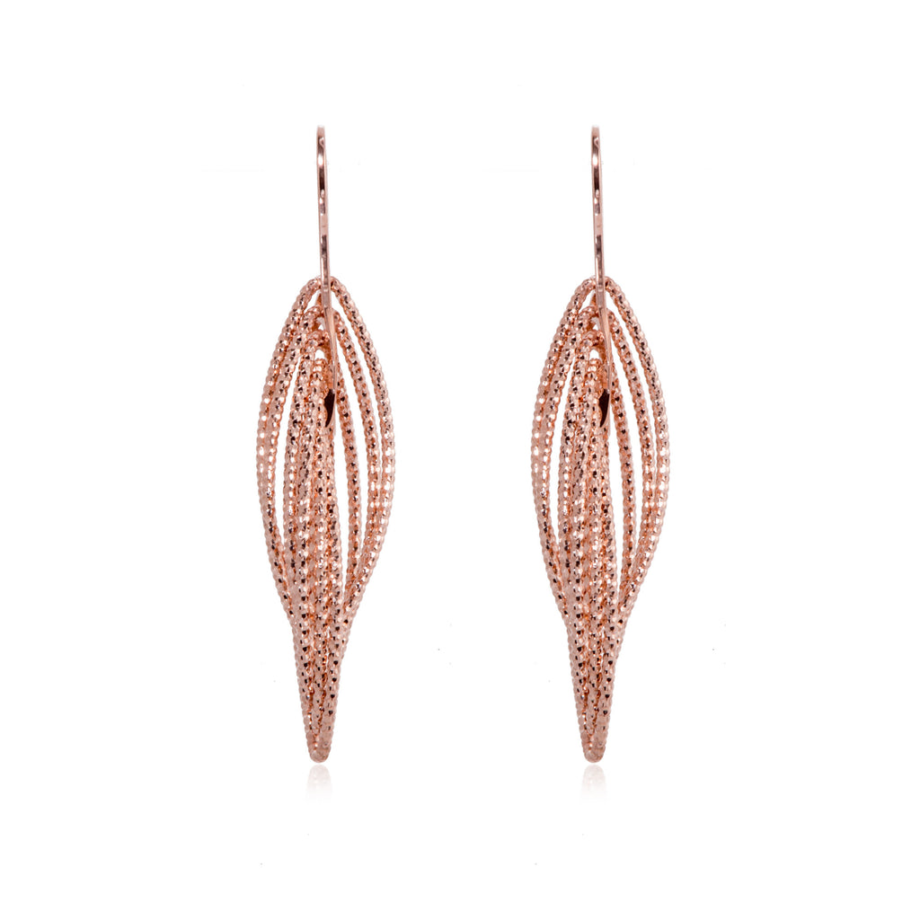 EX-033/R -  Multi ellipse intertwined 3D drop hook earrings