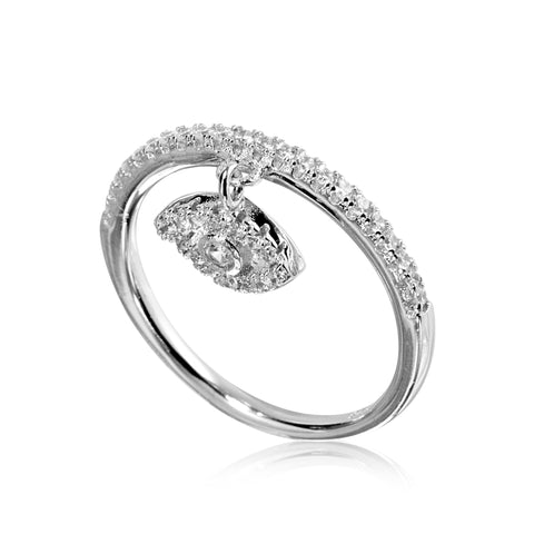 RYJ-73/S - Cubic Zirconia ring with hanging eye. (NEW)