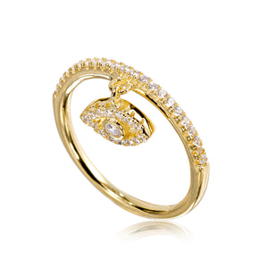 RYJ-73/G - Cubic Zirconia ring with hanging eye