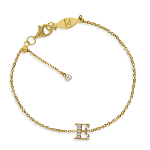 "BT-26/G/E - Initial ""E"" Bracelet adjustable length.(NEW)"