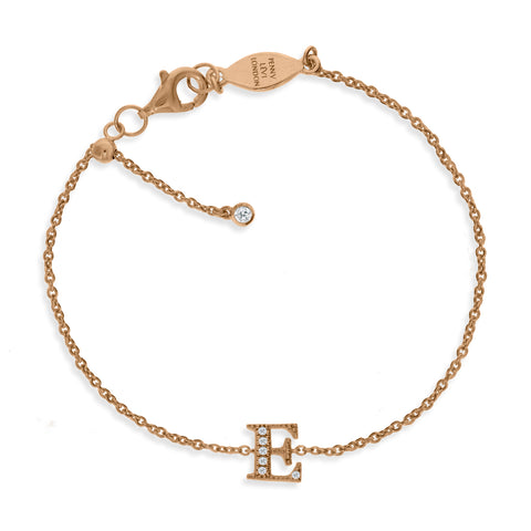 "BT-26/R/E - Initial ""E"" Bracelet adjustable length.(NEW)"