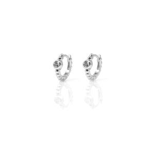 EF-5/S - Silver Huggies with Cubic Zirconia Center Stone