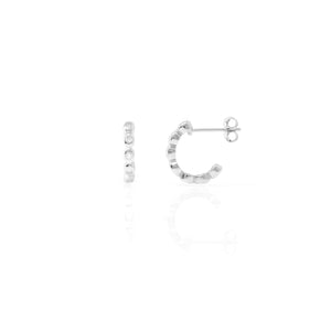 EG-29/S - Half Hoop Earring with Bezil Set Cubic Zirconia