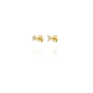 EG-7/G - Moon and Stars Stud Earrings