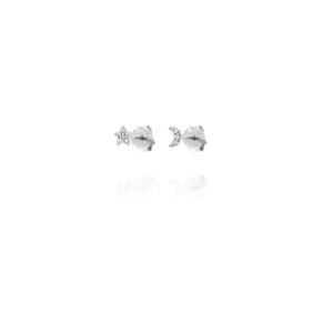 EG-7/S - Moon and Stars Stud Earrings