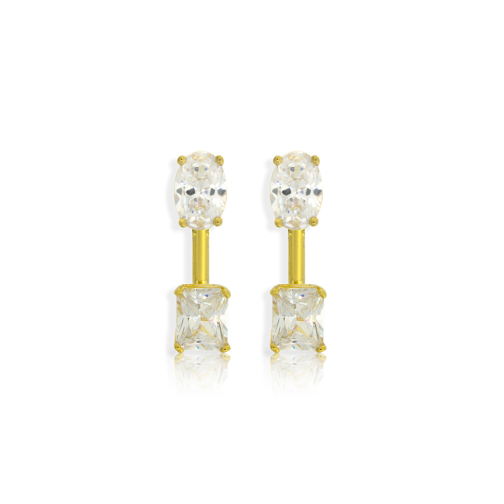 EH-49/G - Cubic Zirconia Stud Earrings with square Cubic Zirconia Ear Jacket.(NEW)