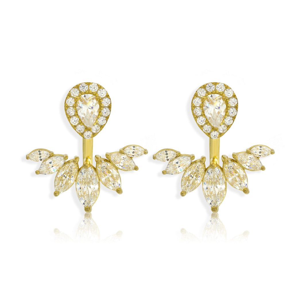 EH-64/G - Cubic Zirconia Ear Jacket Earrings.(NEW)