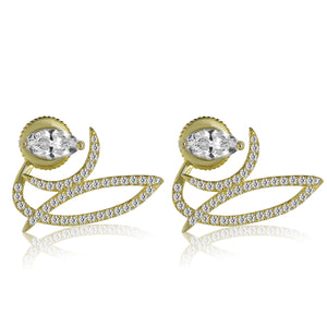 EH-79/G - Ear jacket earrings with Cubic Zirconia stud
