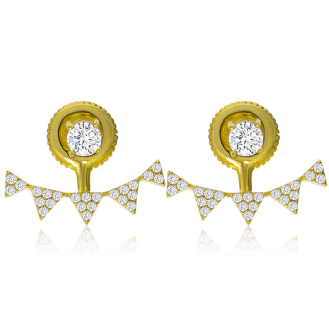 EH-58/G - Gold plated on Silver earrings with Cubic Zirconia (NEW)