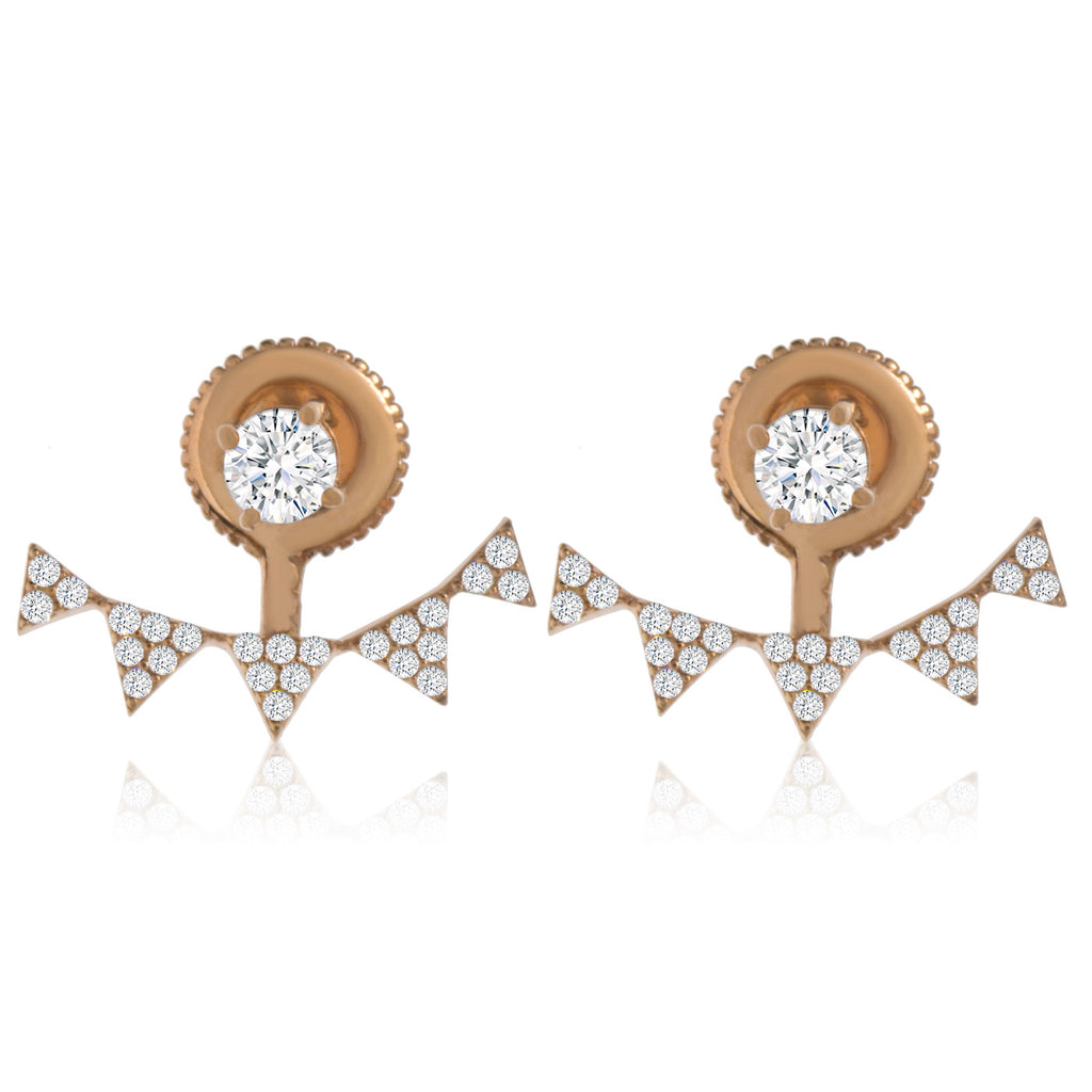 EH-58/R - Rose Gold plated on Silver earrings with Cubic Zirconia (NEW)