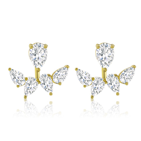 EH-59/G - Cubic Zirconia jacket earrings. (NEW)