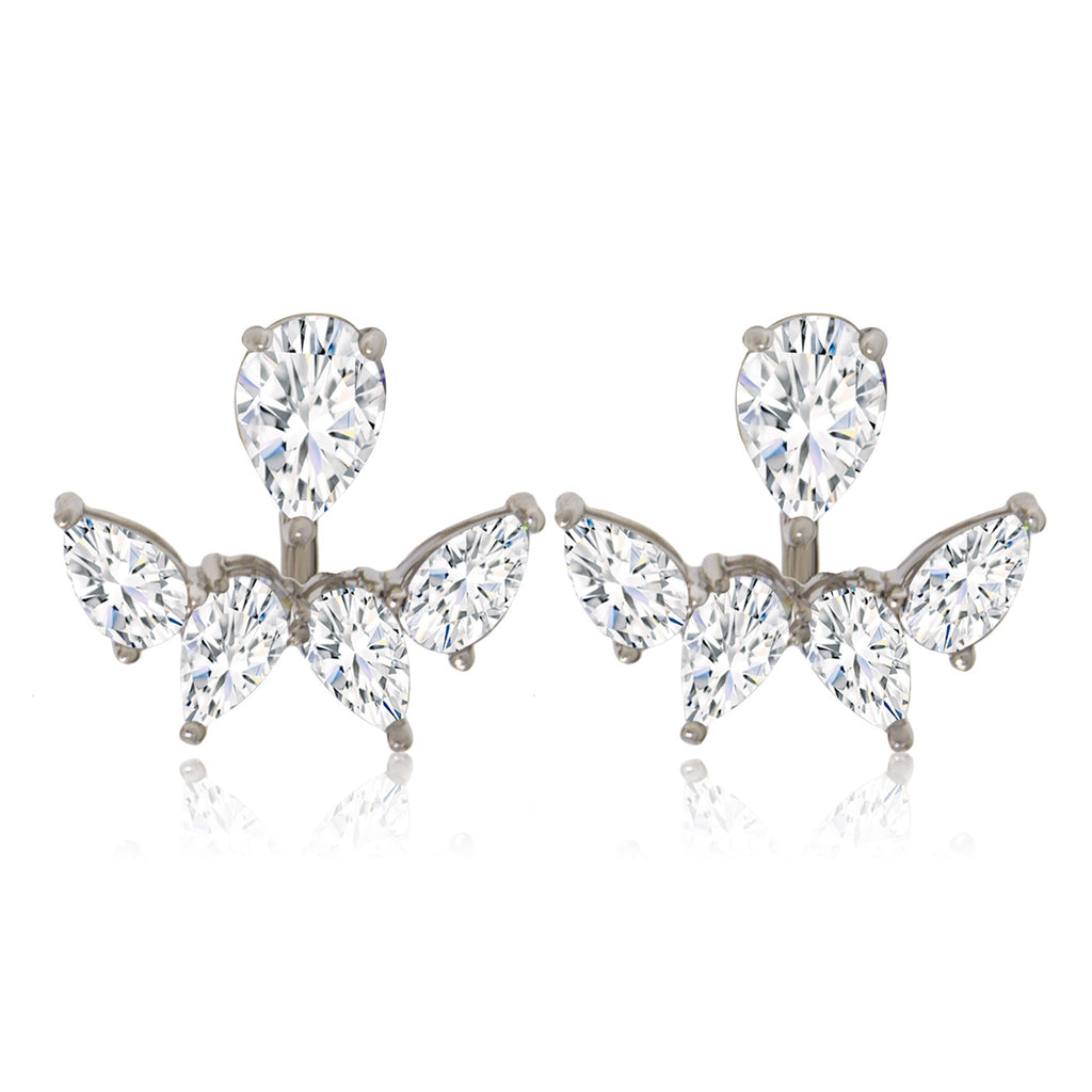EH-59/S - Cubic Zirconia jacket earrings. (NEW)