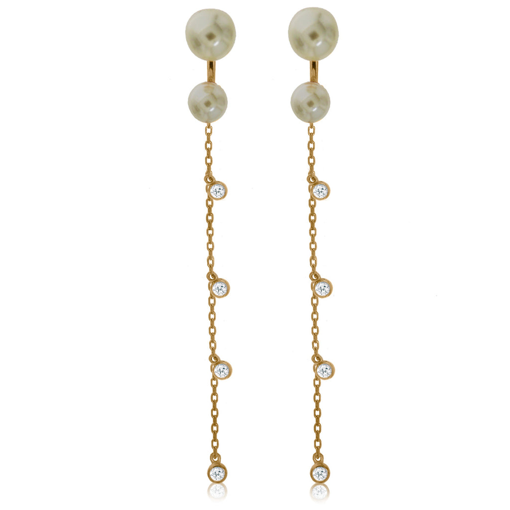 EH-62/G - Pearl Jacket Earrings, hanging chain with CZ (NEW)