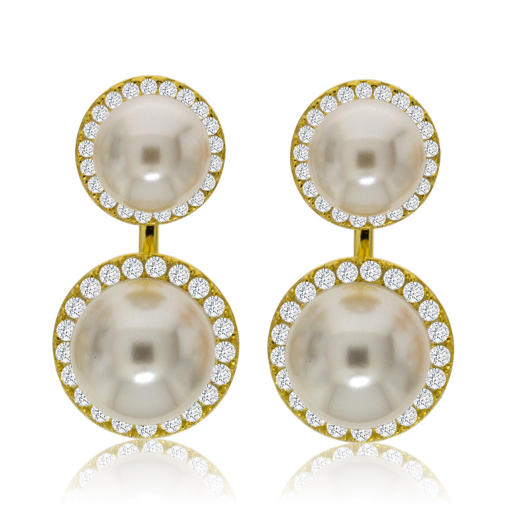 EH-72/G - Pearl and CZ Jacket Earrings. (NEW)