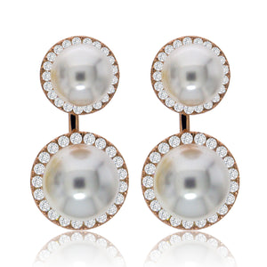 EH-72/R - Pearl and CZ Jacket Earrings