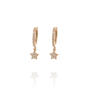 EK-17/R - Ear Hugging Hoop Earrings with a Dangling Star