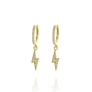 EK-18/G - Ear Hugging Hoop Earring with Dangling Lightning Bolt