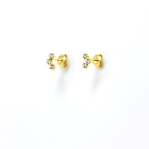 EK-4/G - Stud Earrings with 2 Cubic Zirconia