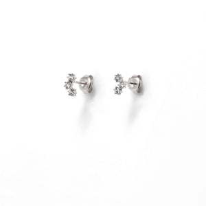 EK-4/S - Stud Earrings 3 Cubic Zirconia Cluster