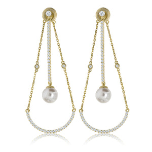EH-73/G - CZ with Pearl Loop Earrings