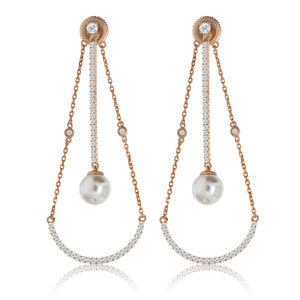 EH-73/R - CZ with Pearl Loop Earrings
