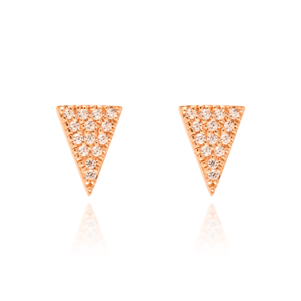 ET-11/R - Triangle Pave Stud Earrings