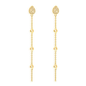 ET-15/G - Teardrop Pave  Stud Earring Hanging Chain with Cubic Zirconia