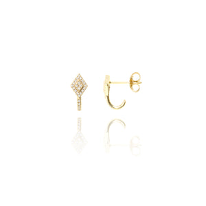ET-23/G - Diamond Shaped Ear Cuffs Set with Cubic Zirconia (can be bought singly or as a pair)