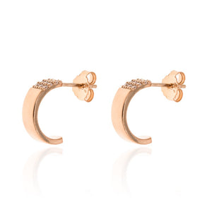 ET-3/R - Half Hoop Earrings with CZ Decoration