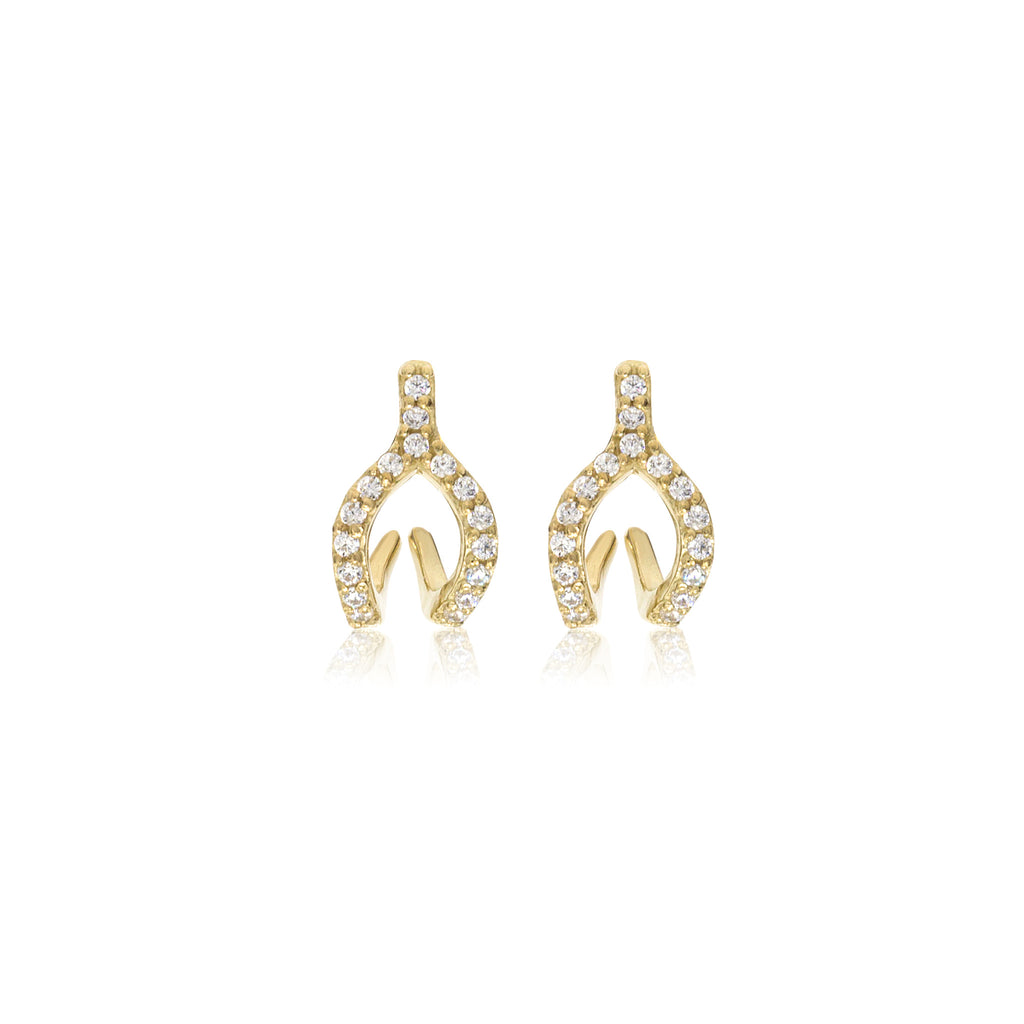 ET-7/G - Cubic Zirconia Wishbone Ear Jacket Earrings