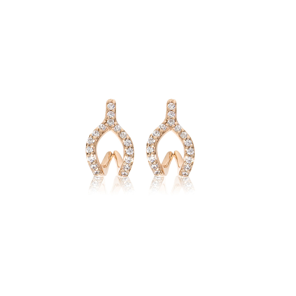 ET-7/R -  Cubic Zirconia Wishbone Ear Jacket Earrings