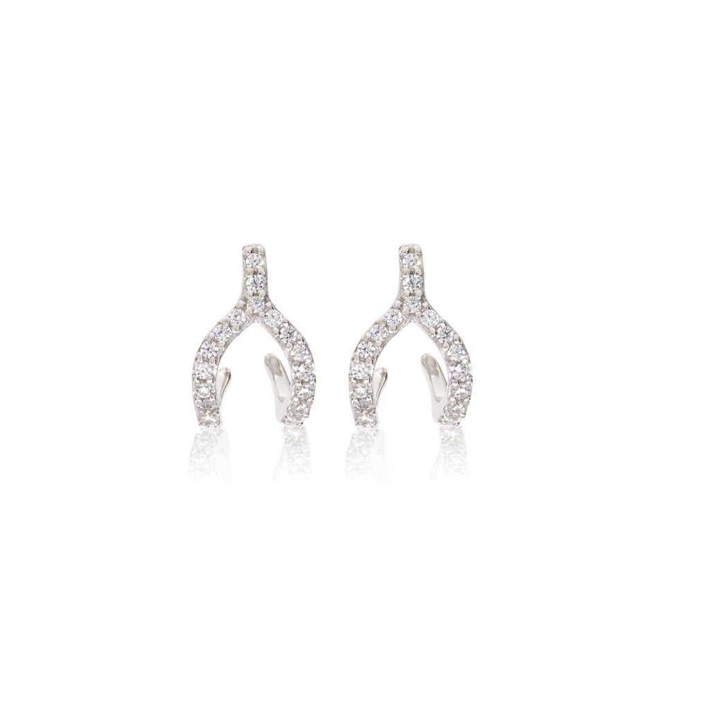 ET-7/S -  Cubic Zirconia Wishbone Ear Jacket Earrings