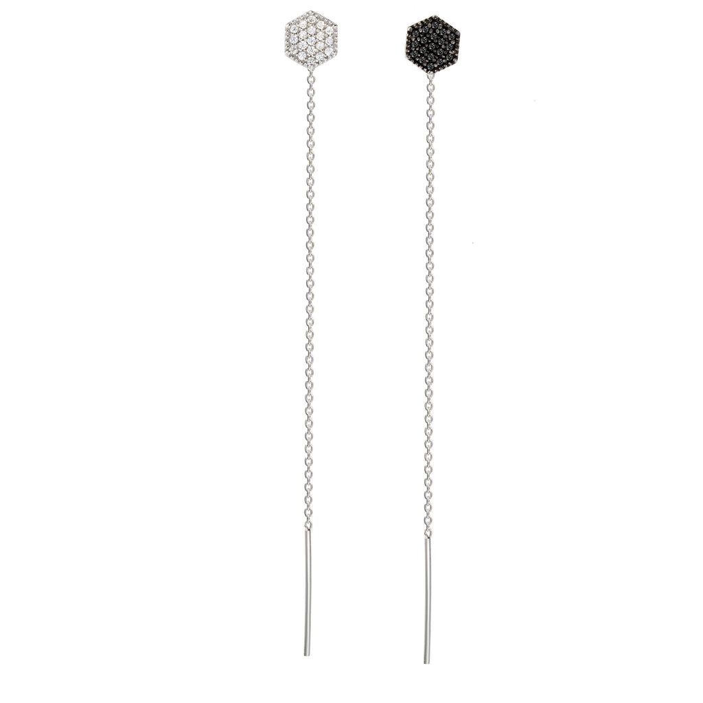 ET-8/SB -  Hexagon stud earrings with hanging chain (NEW)