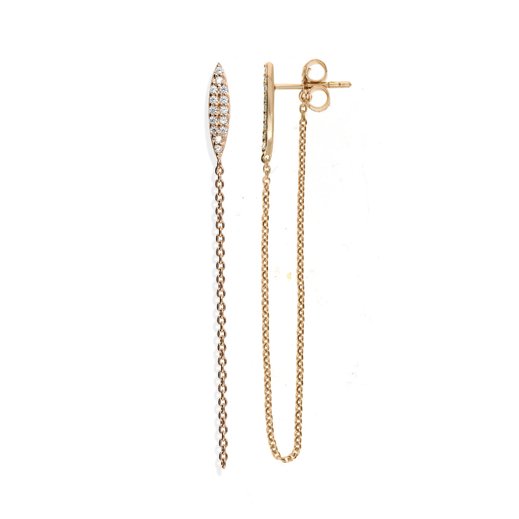 ET-9/R -  Ellipse stud earrings with looped chain (NEW)