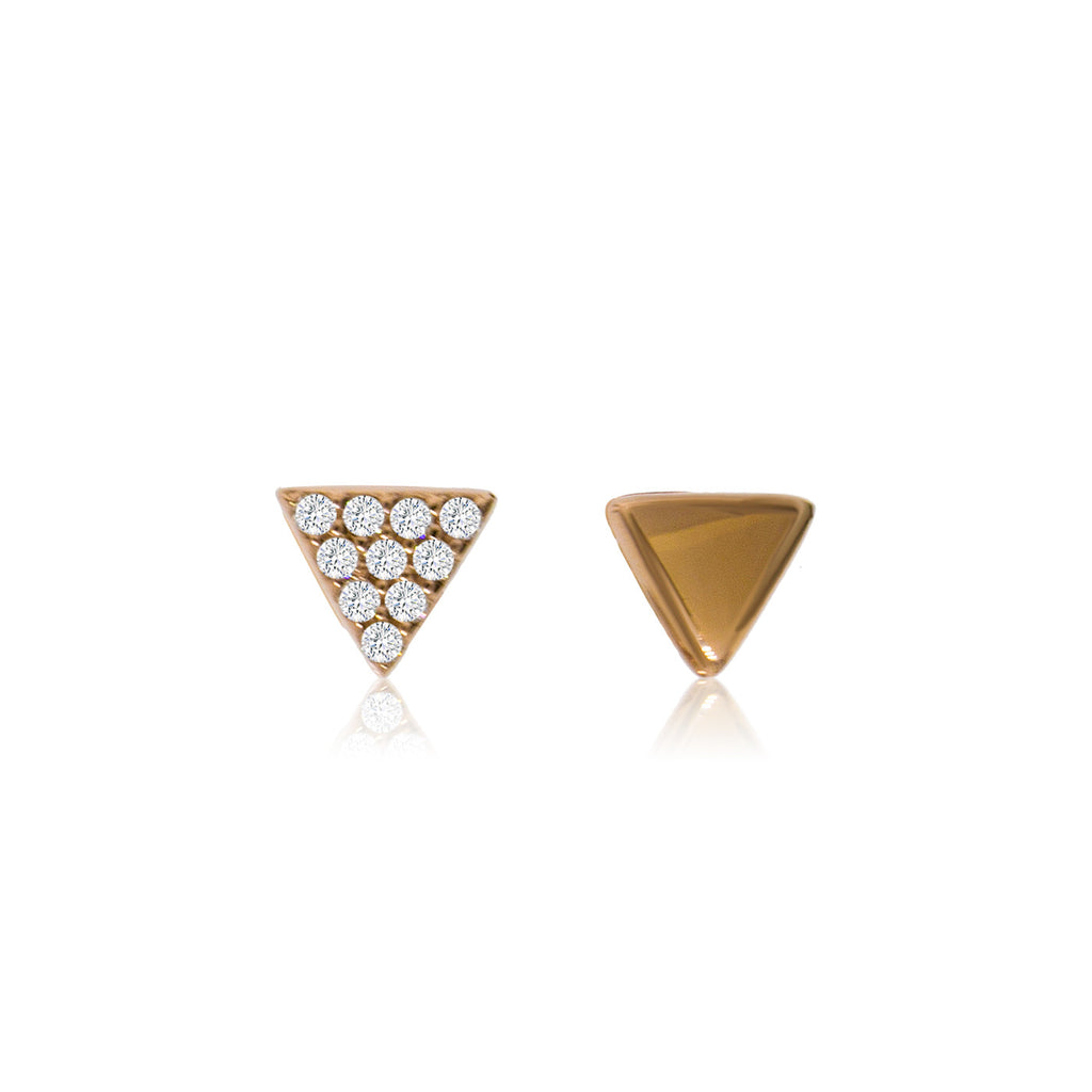 ET-2/R - Small triangle stud earrings one earring pave C Z one earring plain. (NEW)