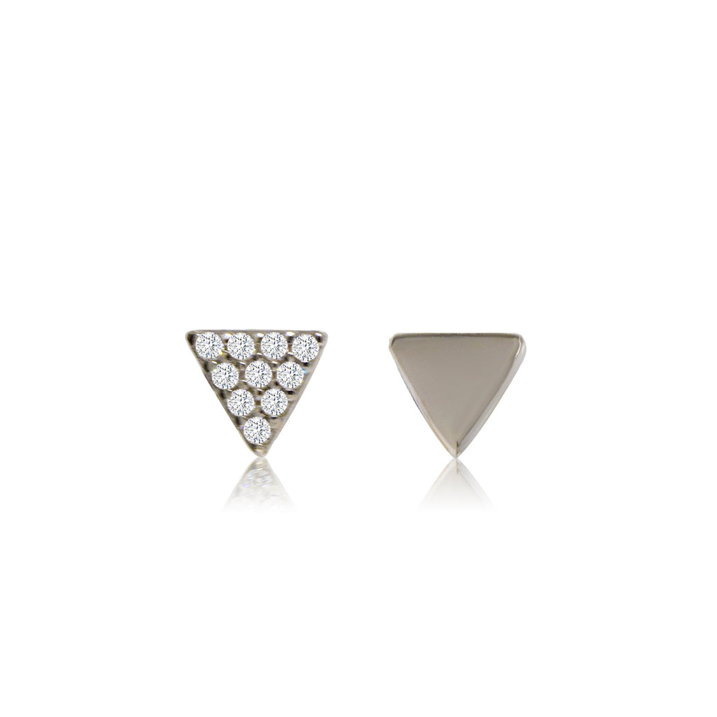 ET-2/S - Small triangle stud earrings one earring pave C Z one earring plain. (NEW)