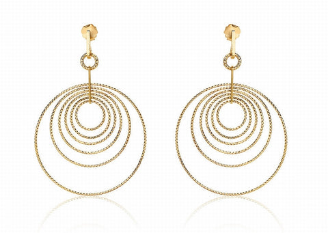 EX-011/G - Multi hoop diamond cut earrings.