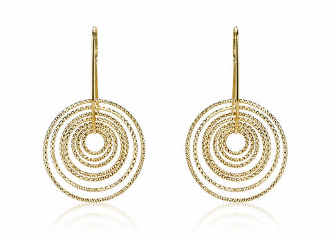 EX-012/G - Multi hoop diamond cut hook earrings.