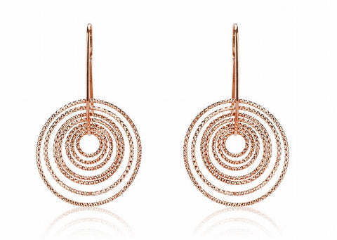 EX-012/R - Multi hoop diamond cut hook earrings