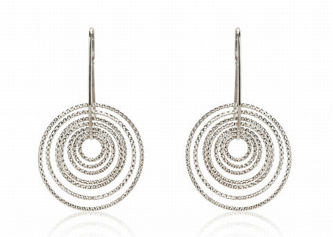 EX-012/S - Multi hoop diamond cut hook earrings