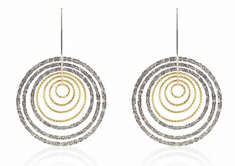 EX-013/S/G - Two textured diamond cut hoop earrings