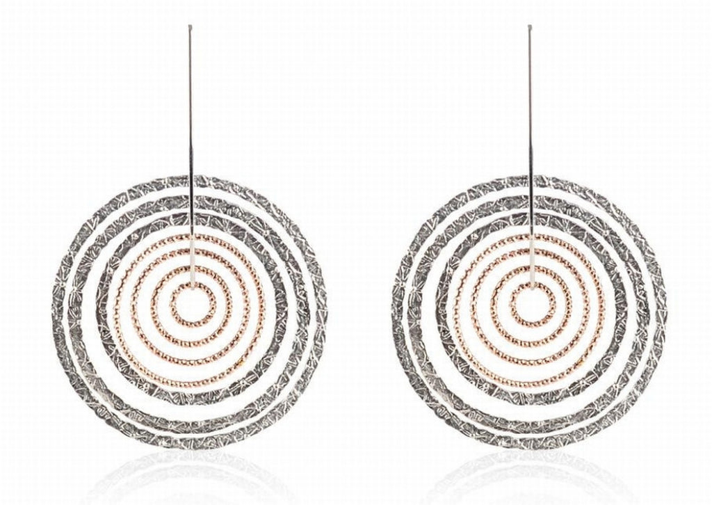 EX-013/S/R - Two texture diamond cut hoop earrings